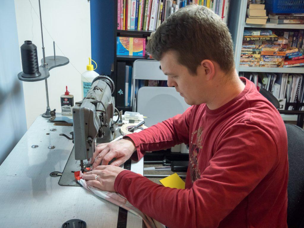 Ian sewing
